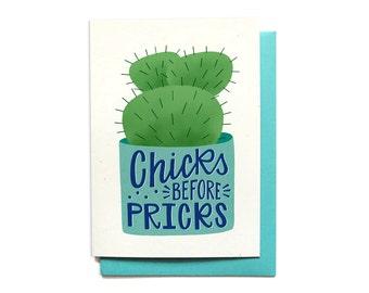Bestie Love Card - BFF Love Card - Funny Anti-Love Card - Chicks Before Pricks - Love Stinks Card - LV30