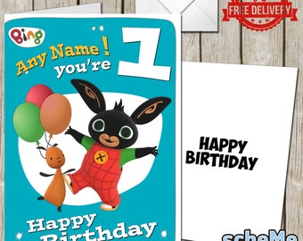 Bing Bunny Personalised Greeting Birthday Card + Free Envelope Free Delivery