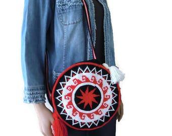 Anatolian Sun- Round  Wayuu bag ,Anatolian kilim design purse with straps,Christmas gift for her-cream white,red Black and white