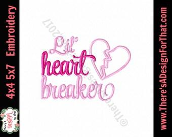 Valentine embroidery design, girl heart breaker embroidery design, heart applique valentines embroidery design