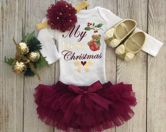 Baby Girl Christmas Outfit in Burgundy and Gold - My First Christmas - Baby Girl Christmas Photos - Baby's 1st Christmas