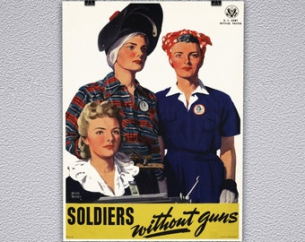 Soldier's Without Guns WWII Vintage Poster Print
