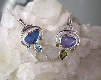 Opal and Blue Topaz // Opal and Peridot Pendant Necklaces // Sterling Silver