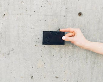 the pocket wallet in black // minimal leather wallet // card pouch // card sleeve