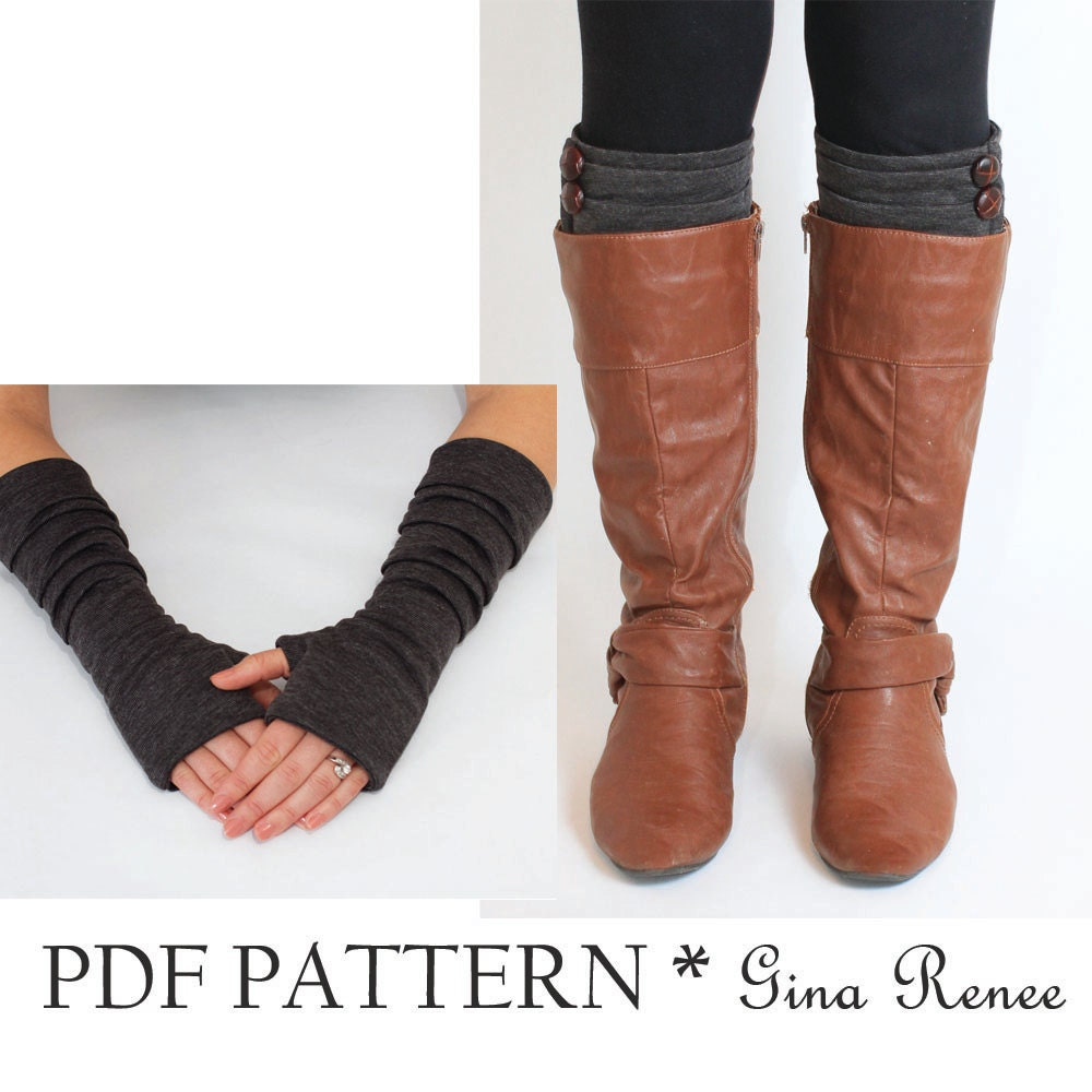 Fingerless gloves pattern with pleats boot cuff pattern pdf zoom jeuxipadfo Image collections