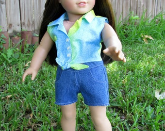 18 Inch Doll Outfit, Blue, Yellow, and Green Ombre Sleeveless Top and Denim Shorts, Fits 18 Inch Dolls Such as American Girl Dolls
