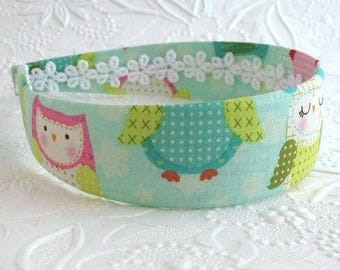 Owl Fabric Covered Headband, Cute Girls Wide Fabric Covered Plastic Headband, Adult Headband, Womens Headband, Cute Owl Theme Headband