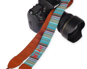 Personalized camera strap. Folk style bohemian camera strap for Nikon Canon.Custom name DSLR camera strap for Photographers-251Z