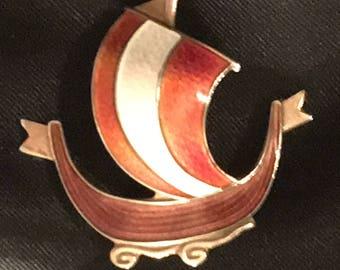 Vintage Sterling Silver Enamel Viking Boat Brooch By Askel Holmsen Sail Tall Ship Nautical Maritime PIN
