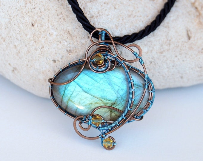 Featured listing image: RESERVED ~~ Wire wrapped pendant Labradorite necklace Anniversary gift for women wire woven Bohemian style artistic handmade jewelry
