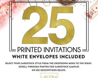 Set of 25 printed invitations / cards