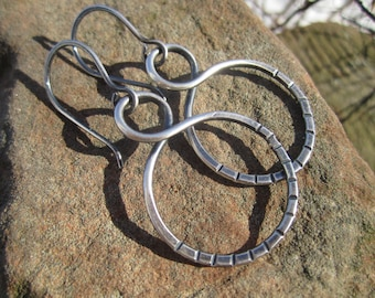 "Sterling Silver Hoop Earrings -Hand Stamped- ""Infinite Possibilities"""