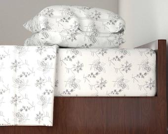 Bedding Sheet Set, Large Botanical Sketch Design, Includes Fitted Sheet, Flat Sheet, and Pillowcase, Twin, Queen, King Sheet Set