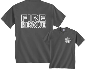 Fire Rescue Maltese Cross Firefighter Badge Front & Back T-Shirt
