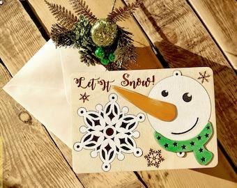 Ornament Card | Christmas Greeting Card | Snowman Card | Snow Flake Card | 5x7