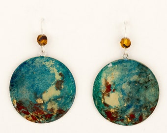 Round painted earrings turquoise