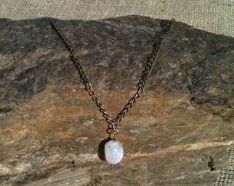 Handmade Ice Flake Quartz Stone & Brass Chain Necklace- Gift Boxed
