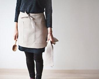 Linen Kitchen Apron with Kitchen Towel / Pure Linen / Red Stripes / Natural Linen
