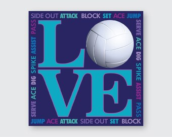 I LOVE Volleyball Wall Art