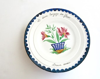 Vintage French Plate - Langage des Fleurs - PV - Made in France - French Saying - Love Motto
