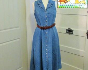 small denim 80's sleeveless dress, made in Canada