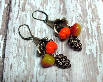 Cornucopia Earrings, Thanksgiving Earrings, Glass Fruit Earrings, Horn of Plenty Earrings, Autumn Earrings, Holiday Earrings, Fall Earrings