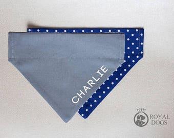Personalized Dog Bandana | Navy Blue Polka Dots | Reversible Custom Cotton Bandana | Christmas Bandana | Dog Name Bandana | Over the collar