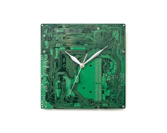 Green Circuit Board Clock, Industrial Wall Decor, Industrial Clock, Large Wall Clock, Unique gift, Boyfriend Gift, Husband Gift, PC Gift,