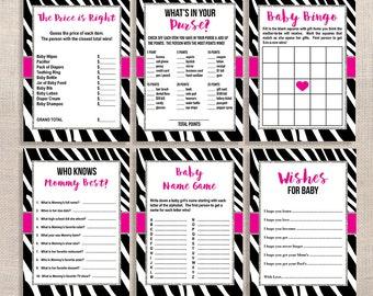 Zebra Baby Shower Games Package, Six Baby Girl Shower Games Bundle, Hot Pink & Black, INSTANT PRINTABLE
