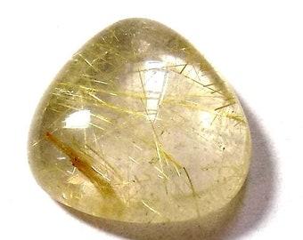 40% Sale -- Golden Rutile , 20 mm Size, Cabochon  Stone, Tear Drop Shape, 1 Pc.
