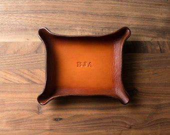 Leather Catchall Small - Tan / brown  personalized catchall, valet tray, office organizer, gift for him, ring dish / fathers day