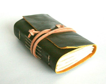 Leather Journal, Olive Green, Hand-Bound 3 x 4.5 Journal by The Orange Windmill on Etsy