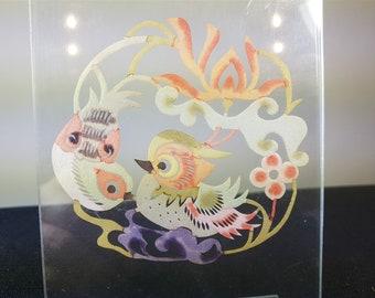 Vintage Birds Paper Cut Watercolor Original Art Hand Made