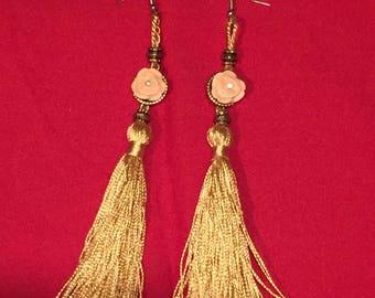 Gold rose tassel earrings