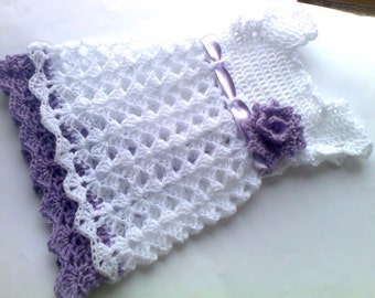 Crochet Baby Dress,  Crochet Newborn Dress, White Lilac Toddler Dress, Baby Shower Gift, Baby Outfit