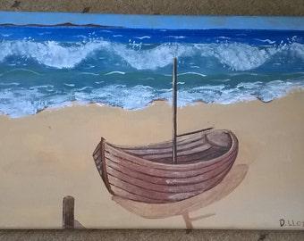 Acrylic 'Boat on a Beach'