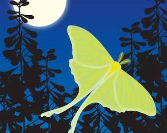 Luna Moth and Moon Art Print, Green Blue Summer Woodland Butterfly Wall Art Wall Decor Bug Insect Illustration
