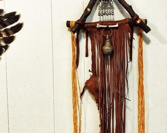 Blessed Beltane  Wood stick leather bells bone kuchi medallion wall hanging altar piece