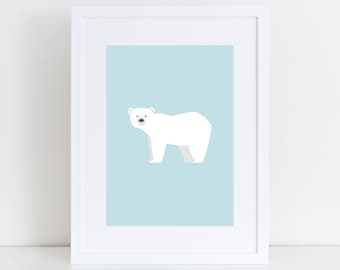 Polar Bear Print, Nursery Wall Print, Wall Art Print, Kids Print, Nursery Art, Polar bear art, Baby Blue Print, Children Art, Animal Print