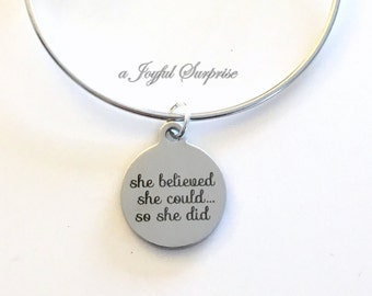 She believed she could so she did Bangle, Minimalist Jewelry, Job Promotion Gift, She believed Jewelry, Silver Bangle, Graduation Gift