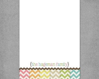 Rainbow Chevron Print Notepads - Personalized Custom Notepads - Size: 5x7 - Shopping List, To Do List, Customized Gift - Hageman**