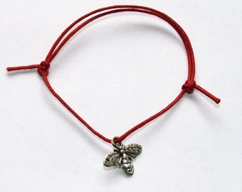 silver bee charm on waxed cotton cord adjustable friendship bracelet