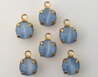 Blue Moonglow Glass Stone 1 Loop Brass Setting Drops 7mm (6) rnd001X