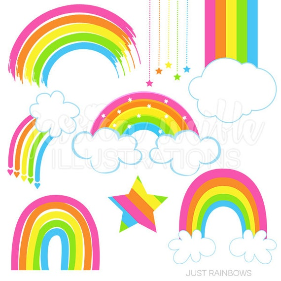 just rainbows cute digital clipart rainbow clip art rainbow rh etsy com rainbow clip art black and white rainbow clip art border