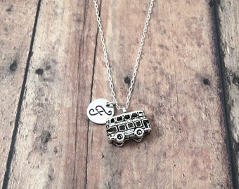 Double decker bus initial necklace - double decker bus jewelry, travel jewelry, British necklace, London necklace, silver bus pendant