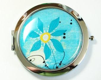 Flower compact mirror, mirror, compact mirror, floral mirror, Blue, Blue flower, blue mirror, blue compact mirror (2575)