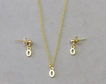 Tiny Initial O Necklace and Earring Set- Gold or Silver Plated