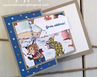 Birthday Handmade Greeting Card - Stampin' Up Birthday Memories - Fancy Fold - Gender Neutral
