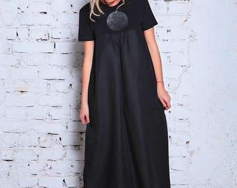 Linen Dress, Plus Size Maxi Dress, Plus Size Linen Dress, Black Caftan Dress, Linen Maxi Dress, Black Kimono Dress, Plus Size Caftan, Dress