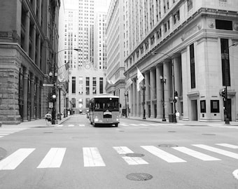 Chicago street print, Red Trolley photo, black and white art city photography, large paper or canvas wall decor 8x10 11x14 12x12 12x16 20x30